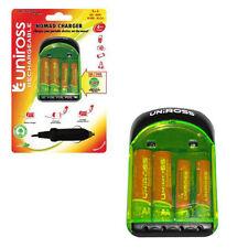 Uniross Nomad Red/Cargador De Batería De Coche + Baterías Recargables Aa/Aaa