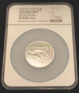 2015-P Australia 5 oz Silver $8 Kangaroo High Relief NGC PF 70 Ultra Cam Box COA