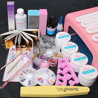 Acrylic Nail Art UV Gel Kits Tools Pink /White 36W lamp Tips Glue Nail Files Set