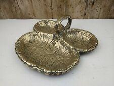 Old Vintage Brass Vine Leaf Art Nouveau Serving Grape Dish Stunning Detailing