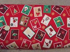 Christmas fabric - 'Red Stamps' print 100% cotton - per metre