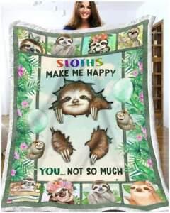 Sloth - Sloths Make Me Happy Sofa Quilt Blanket, Fleece Blanket Printer In US