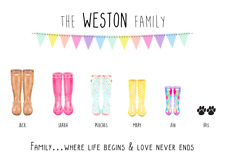 Personalised Family Wellies Print! Personalised Family print! Welly Print!