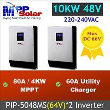 10kw Solar inverter 48v 230vac ,80A mppt solar charger ( PIP5048MS*2 parallel)