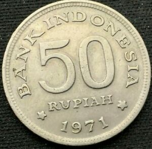 1971 Indonesia 50 Rupiah Coin XF     World Coin    #K266