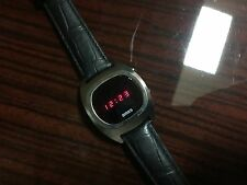 VINTAGE BIRKS LED WATCH~(SIMILAR TO PULSAR LED)~SILVER & LEATHER STRAP
