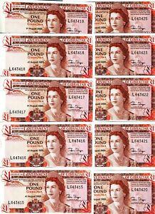 LOT, Gibraltar, 10 x 1 pound, 1988,  P-20 (20e), QEII, UNC > The last