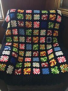 Vintage Afghan Crochet Throw Blanket Retro Handmade Granny Square  60x44