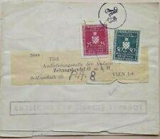 HRVATSKA WORLD WAR 2 JOURNAL WRAPPER WITH OFFICIAL STAMPS & Ag GERMAN CENSOR