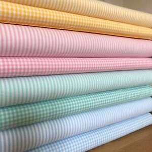 Pastel easter Stripes and Tiny Gingham Fabrics  (Pink, Blue, Green and Yellow)