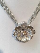 Joseph Esposito Petals of Color 14K Gold Bead Sterling Silver Flower Necklace