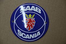Enamel Sign Saab Scania ø10 cm.