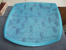 John Dunn Pottery large press moulded asymmetrical bowl in blue