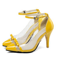 Women's Classic Pumps Shoes Ankle Strap Bow Pointed Toe Slim High Heel Sandals
