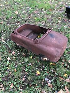 ORIG 1940's VERY HEAVY BMC FULL SIZE THUNDERBOLT PEDAL CAR  FOR YARD ART!!!
