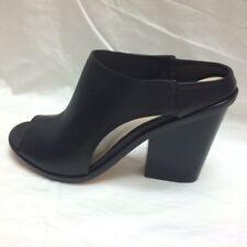 NEW Cole Haan Black Leather Open-Toe Slide Mule Bootie High Heels Womens sz 6