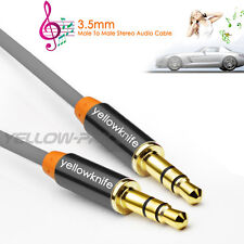 Premium Grey Gold Tipped Aux Cable Stereo Audio 3.5mm Input Cord Male to Male 1m