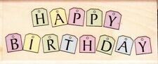 TAG HAPPY BIRTHDAY - Wood Mounted Rubber Stamp - Hampton Art
