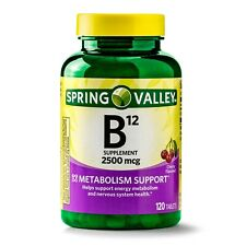 SPRING VALLEY B12 TABLETS 2500mcg 120ct CHERRY FLAVORED