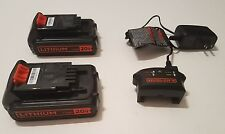 2 Black & Decker 20V 1.5 AH Lithium Ion Battery LBXR20 and Charger LCS1620