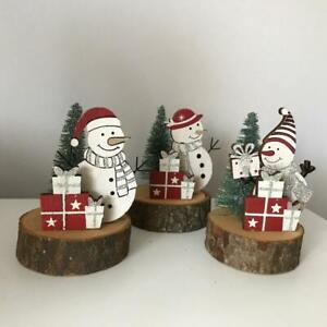 New set of 3 small glitter snowmen Christmas decorations on log base 10cm high