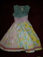Matilda Jane Little Girls Sleeveless Multi Patterned  Dress Sz 4 Adorable