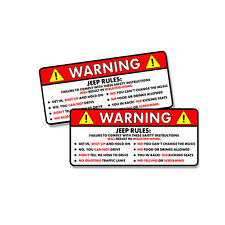 Jeep Rules II Warning Safety Instructions Funny Adhesive Sticker Decal 2 PACK 5""
