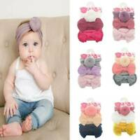 Kids Baby Girls Toddler Bow Hair band Headband Stretch Turban Knot Head Wrap 3PC