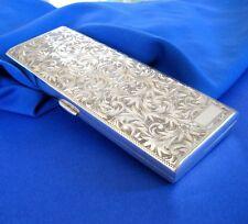 """Vintage 950 Sterling Silver 40""""s Slim ENGRAVED CIGARETTE CASE                D-2"""
