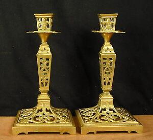 Agréable paire de bougeoirs ajouré Style Louis XIV XIXéme pair of candlesticks .