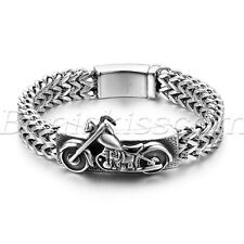 Mens Gothic Biker Motorcycle Polish Stainless Steel Buckle Bracelet Bangle Chain