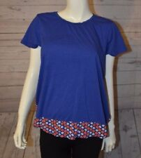 Gap L Blue Orange Short Sleeve Diamond Top Shirt Zig Zag Cotton Modal Rayon Blen