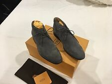 NIB Tod's Men's Lace-Up Ankle Boots in Suede Grey Size 7.5