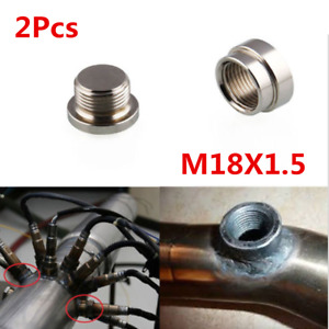 1 Pair Universal Car O2 Oxygen Sensor Stepped Boss & Bung Plugs Kit M18X1.5