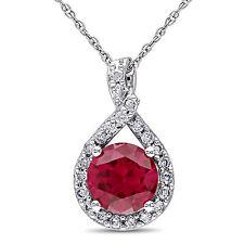 """10k White Gold 1 5/8 Ruby & 1/5 ct TDW Diamond Pendant Necklace H-I I2-I3 17"""""""