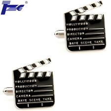 Men Movie Clapper Board Shirt Cufflinks With Velvet Bag TZG Cuff Links
