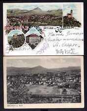 104136 2 AK Kirchheim unter Teck Litho 1897 Hotel Post Reussenstein Burg Teck Pa