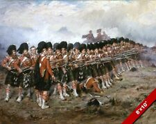 SCOTTISH HIGHLANDERS PAINTING BRITISH MILITARY HISTORY WAR ART REAL CANVAS PRINT