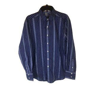 Robert Graham Casual Shirt  Men Large Long Sleeve Button Front Cotton Blue