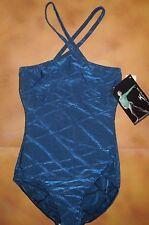 NWT MOTIONWEAR Dance Halter Leotard Iridescent Cobalt Blue Ladies Medium 2551