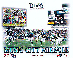 Music City Miracle unsigned 16X20 Photo Tennessee Titans - KEVIN DYSON