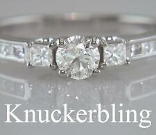 Round White Gold Solitaire with Accents Engagement Fine Diamond Rings