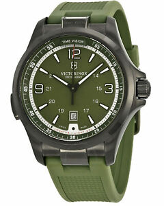 Victorinox Swiss Army 241595 Night Vision Men' Steel Watch Green Rubber Band
