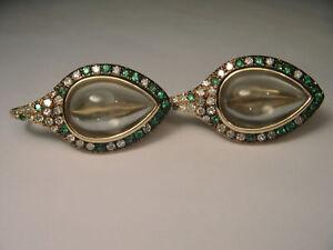 Gorgeous 14K Yellow Gold Cabochon Green Amethyst Tsavorite Diamond Leaf Earrings