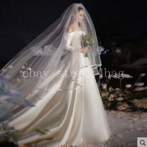 Satin simple Off shoulder Long sleeve Hepburn Style Wedding Formal Dress Skirt