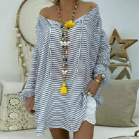 Loose Size Women Tops Shirt Tunic Sleeve Blouse Plus V-neck Long Pullover Casual