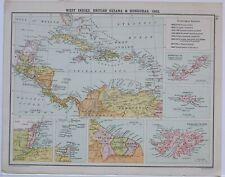 1905 MAP WEST INDIES BRITISH GUIANA & HONDURAS CENTRAL AMERICA BERMUDAS FALKLAND