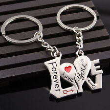 """2pcs Couples Lovers Word Metal Key Chain Ring Keyfob """"I Love You"""" Silver Gift"""