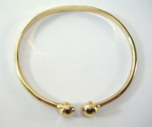 Double Ball End Gold Bangle Adjustable open Cuff Bangle Statement Unisex Jewelry
