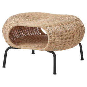 New GAMLEHULT  Footstool with storage, rattan, anthracite 104.343.09 *Brand IKEA